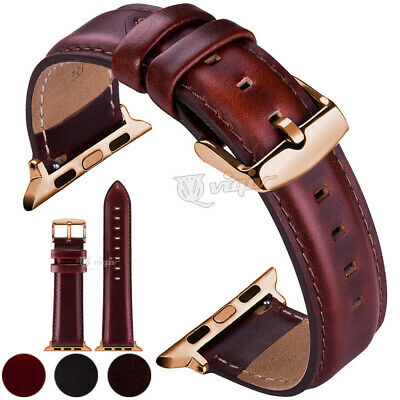 $ CDN12.80 • Buy 38 40 42 44mm For Apple Watch Series 2/3/4/5/6 Genuine Leather IWatch Band Strap