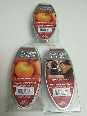 Yankee Candle Spiced Pumpkin & Kitchen  Spice Fragranced Wax Melts Lot Of 3 NEW • 10.15£