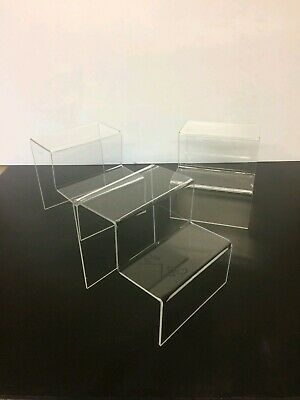 Funko Pop 2 Tier Clear Acrylic Plastic Retail Riser Counter Display Stands X3  • 9.99£