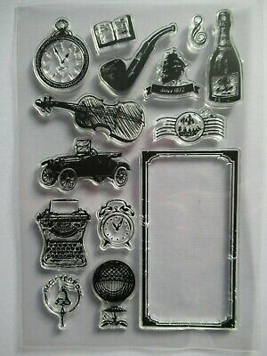 NEW 14 Pc Clear Acrylic Stamp Set - Vintage Men's Theme / Car Clock Pipe Violin • 3.99£