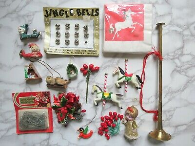 $ CDN25.18 • Buy Vintage Christmas Ornaments Package Toppers Lot Holiday Decorations Kitschy