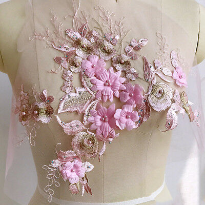3D Flower Embroidery Lace Bridal Applique Pearl Beaded Tulle DIY Wedding Dress • 7.55£
