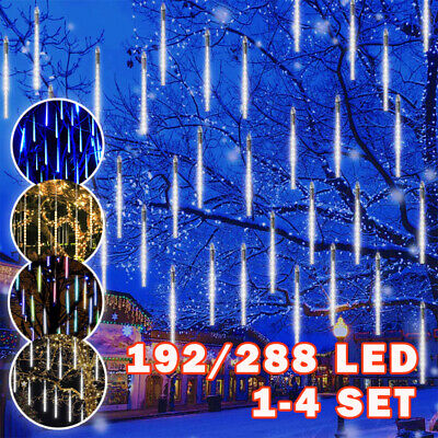 LED Meteor Shower Rain Lights Falling String Lights Drop Icicle Snow Xmas Party • 9.69£