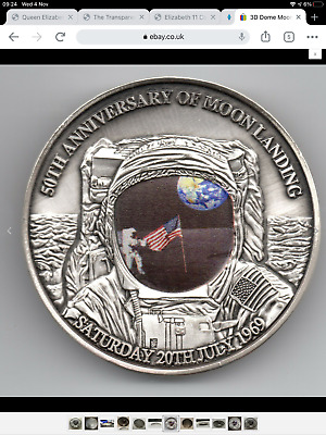 3D Dome Moon Surface Silver Coin First Man On The Landing Apollo U C Flag Retro • 300£