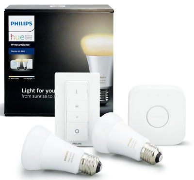 AU299.95 • Buy Philips HUE A60 WHITE AMBIANCE HOME AUTO KIT 9.5W 2xE27 Bulb, Dimmer Switch