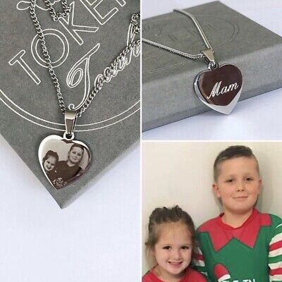 Personalised Photo Engraved Heart Pendant Necklace Mum Including FREE Gift Box • 19.99£
