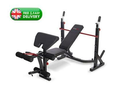BodyMax Barbell Bench W/ Olympic Weight Rack Foldable | Arm & Leg Curler UK NEW • 539.99£