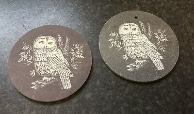 £3.95 • Buy Owl Decorated Slate Coaster And Hanging Disk Set
