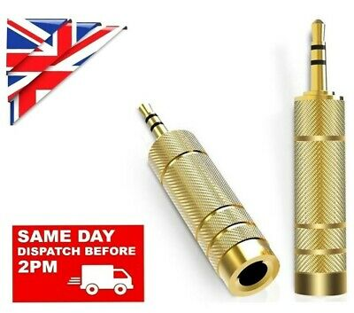 £3.16 • Buy BIG To SMALL 3.5mm MALE To 6.35mm FEMALE GOLD JACK PLUG AUDIO STEREO AUX ADAPTER