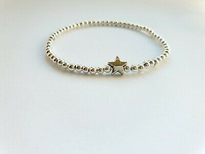£3.19 • Buy  ⭐Silver Ball Stretch Cute Lucky Star Bracelet / Anklet Stacker Christmas Gift ⭐