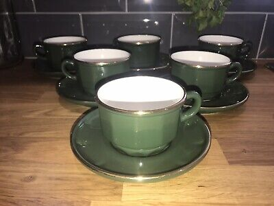Apilco Green & Gold Coffee Cups & Saucers X 6 French Bistro Ware No Stamp • 24.95£