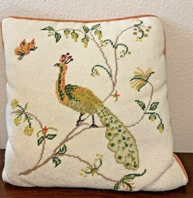 £25.42 • Buy 13  Hand Crafted Peacock Floral Tree Needlepoint Throw Pillow Velvet Back