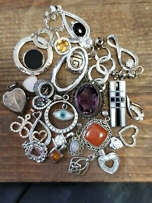 $ CDN240.31 • Buy Vintage Lot Sterling Silver 29 Pendants Some With Stones Etc