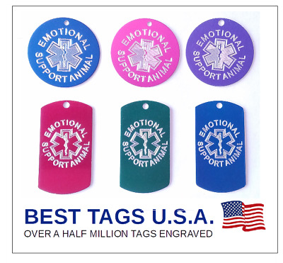 $4.89 • Buy Emotional Support Animal Tags Personalized Engraved -Made In USA- FREE Shipping!