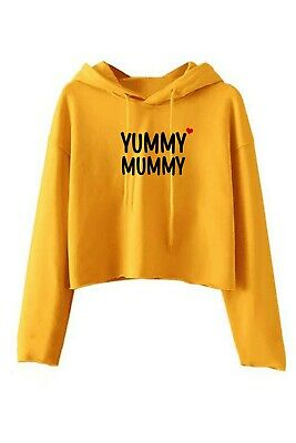 Yummy Mummy Crop Tops Hoodie Funny Birthday Gift For Mother's Day Mama Mom Xmas • 14.10£