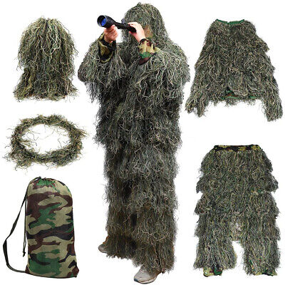 Adults Ghillie Burlap Suit 3D Woodland Camouflage Clothes Hunting Forest Sniper • 29.99£