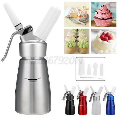 250ml Whipped Cream Dispenser Attachments Included 3 Decorating Nozzles Kitchen • 15.99£