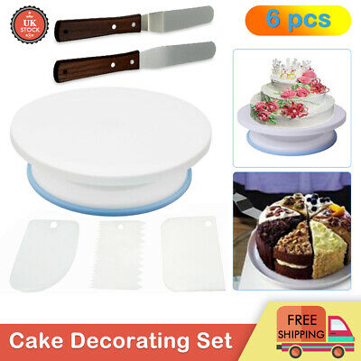£8.45 • Buy 6Pcs Cake Decorating Turntable Set Tool Spatula Rotating Stand Smoother DIY Kits