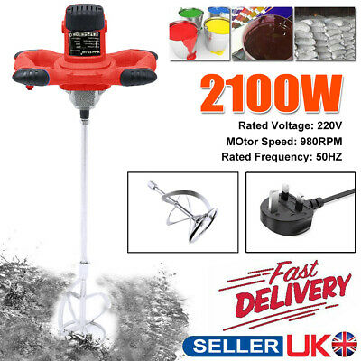 2100W Paddle Mixer Electric Plaster Mortar Cement Paint Stirrer Plastering Whisk • 24.99£
