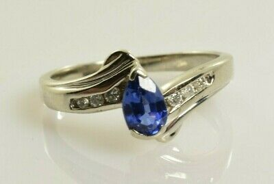 AU228.96 • Buy Sapphire And Diamond Ring In 10k White Gold .69 Carats Size 7