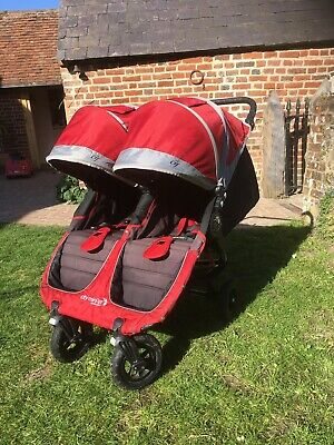 Baby Jogger City Mini GT Red All Terrain Double Buggy Pushchair • 200£