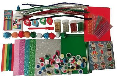 Childrens Christmas Craft Set Materials Gift Xmas Kids Craft Kit Card Making • 10.99£