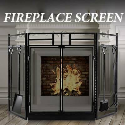 £82.52 • Buy Black Fire Guard Freestanding Panel Fireplace Safety Spark Screen Protector