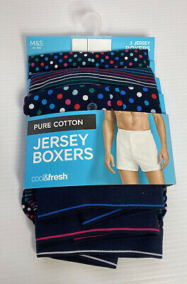 M&S Mens Cotton JERSEY BOXERS 3 Pair Cool & Fresh Flexifit Antibacterial Staynew • 19.99£