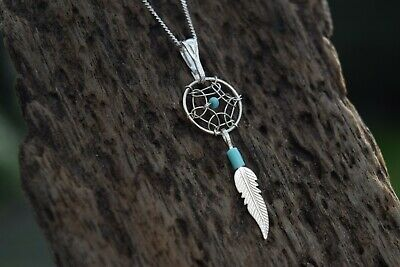 Native American Dreamcatcher 925 Sterling Silver Gemstone & Turquoise Necklace • 8.99£