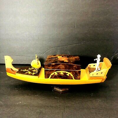 Vintage REUGE DANCING BALLERINA Gondola WOODEN Jewelry CASE MUSIC Box RARE • 111.33£