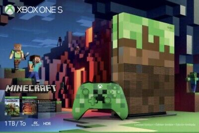 AU649 • Buy Microsoft Xbox One S Minecraft Limited Edition 1TB Green/Brown Console - Boxed