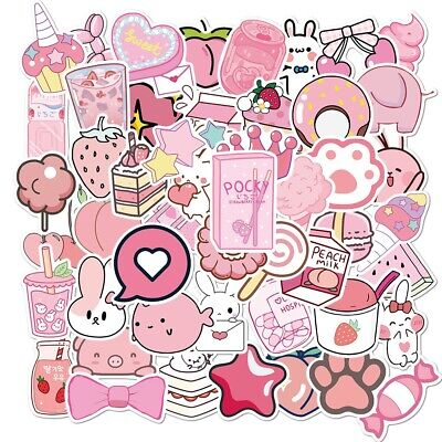 £4.33 • Buy UK VSCO Pink Stickers For Hydro Flask 50Pc Cartoon Phone Laptop Cute Sticker NEW