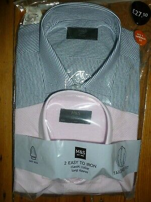 M&s Shirts 2 Pack Easy Iron Tailored Fit Mens Pink / Blue Stripe 16.5  New • 16.99£