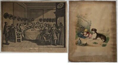 ORIGINAL Antique William Hogarth Litho  The Committee  + Albert Waldow Litho • 55£