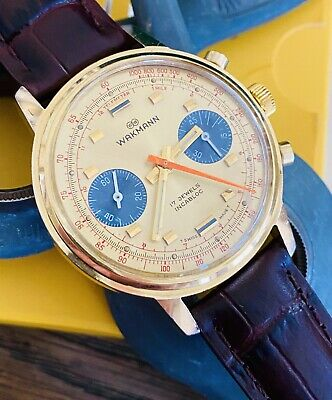 $ CDN1646.85 • Buy Mint Vintage Gold Wakmann Chronograph Watch Ref. 1376 Panda Dial Valjoux 7733
