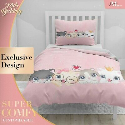 Cat Family Baby Kids Cartoon Pink Duvet Cover Double Bed Single Queen King • 14.45£