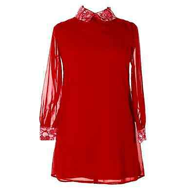 Red Silk Long Sleeve Shift Dress With Lace Collar And Cuffs • 35.76£