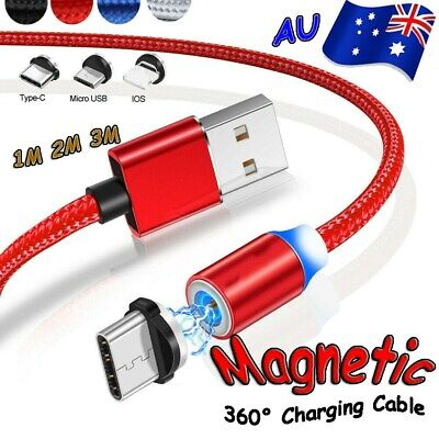 AU5.99 • Buy UP To 3M Magnetic Charging Cable For IPhone Android Charger Fast IOS Micro USB C