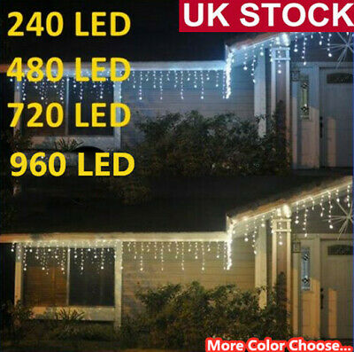 Icicle Lights Hanging String Fairy Light Christmas Outdoor 240/960/480/720 LEDs • 8.25£