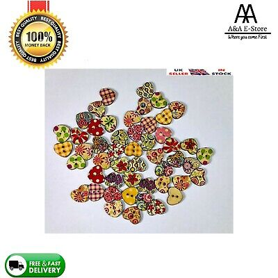 50 X Heart Shaped Wooden Buttons 2 Hole Random Mixed Flower Pattern Sewing Xmas • 2.75£