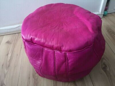 Pink Genuine Leather Moroccan Pouffe New Pouf Poufe Ottoman Handmade • 26.95£