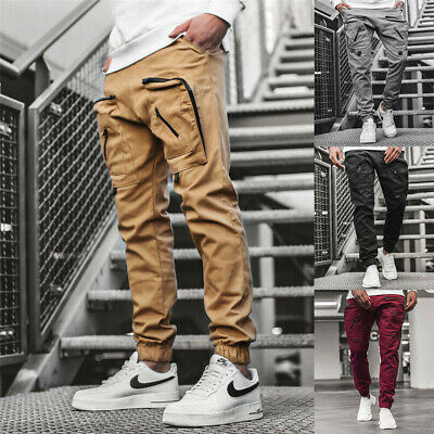 $26.99 • Buy Man's Casual Joggers Pants Sweatpants Cargo Combat Loose Sports Workout Trousers