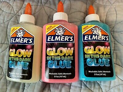 AU20.53 • Buy Elmers Glow In The Dark Glitter Glue 3 Pack Blue Pink Yellow Great For Slime New