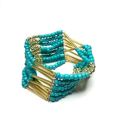 Light Hippy Turquoise Stretchy Indie Fashion Bracelet New • 3.99£