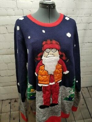 $15.20 • Buy Jolly Sweaters  Christmas  Ugly Embroidered Ornament  Santa In Orange Vest Size