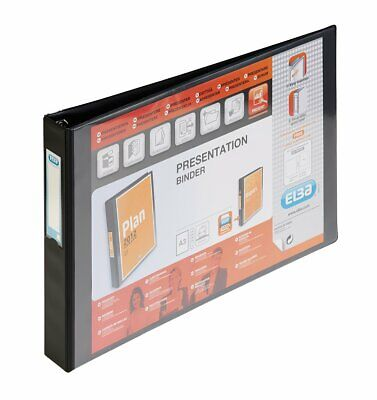 Elba Vision A3 Presentation 55mm 4 D-Ring Binder Landscape Black Folder • 13.99£