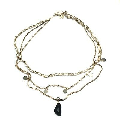NastyGal Black Stone Gold Layered Chain Indie Necklace Brand New • 3.99£