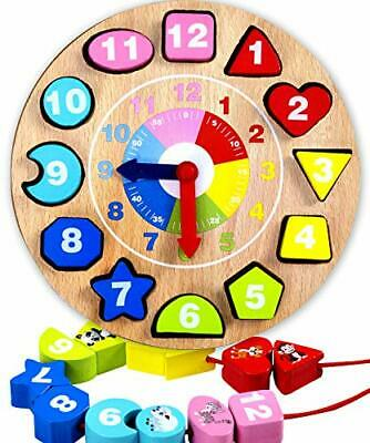 £18.72 • Buy Shape Sorting Teaching Clock Wooden Toys For 1-4 Year Old Boys Girls