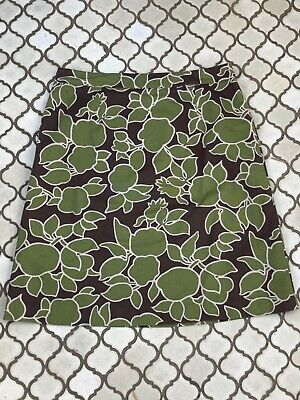 Boden Green/brown Floral Patterned A Line Cotton Skirt Size 14R • 6£