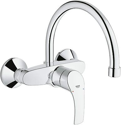 GROHE Eurosmart Kitchen Sink Single-Lever Mixer Tap High Spout Wall Mount Chrome • 94£